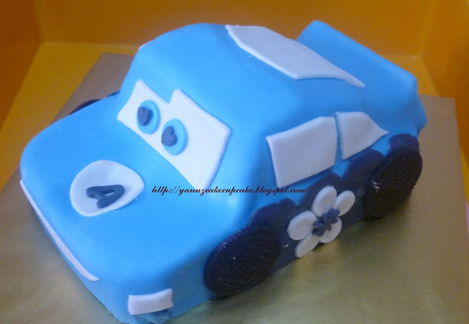3D Lightning McQueen Car Cake Blue yannzcakecupcakecom