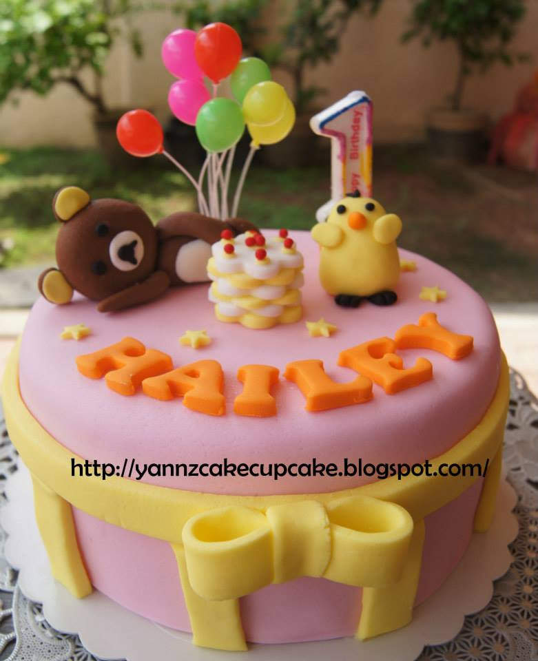 Rilakkuma Bear Butter Cake For Hailey 1st Birthday Pink Base With Figurine Yellow Bird And Stars Delivered To JJ Bkt Tinggi TQ Chia