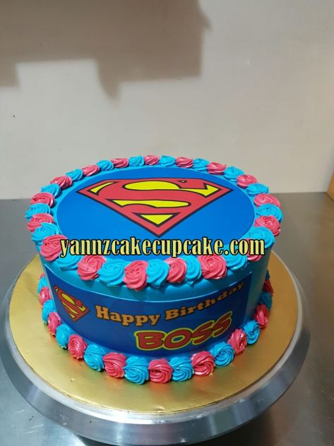Pleasant Superman Birthday Cake For Boss Yannzcakecupcakecom Funny Birthday Cards Online Bapapcheapnameinfo